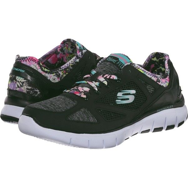 SKECHERS Skech - Flex - Sunset Dreams (Black Multi) Women's Lace up... (600.975 IDR) ❤ liked on Polyvore featuring shoes, black, synthetic shoes, light weight shoes, skechers footwear, black laced shoes and black lace up shoes