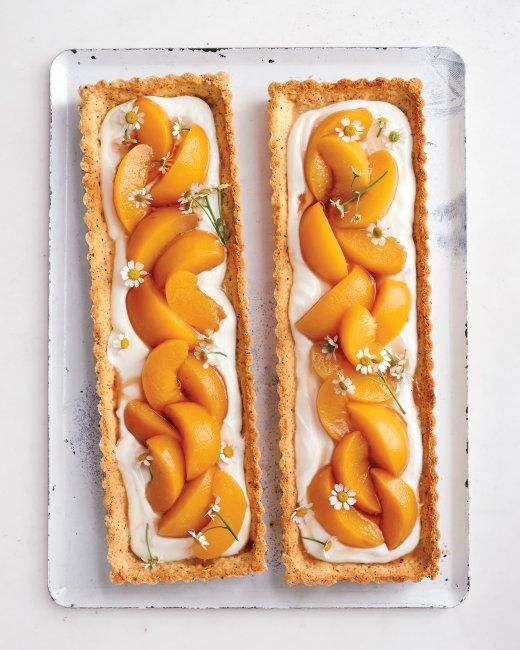 Chamomile-Peach Tarts Recipe  Beautiful. Buy organic chamomile flowers in season from http://maddocksfarmorganics.co.uk/shop/