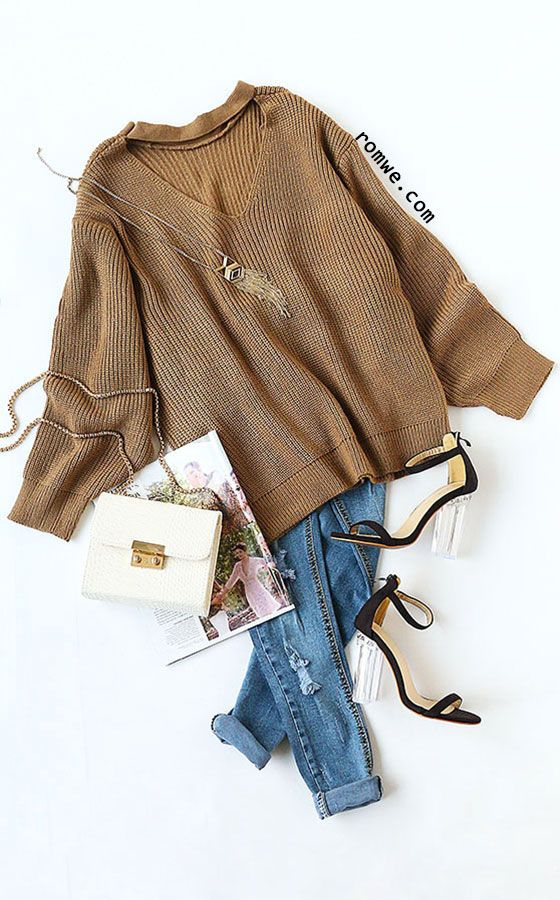 Khaki Drop Shoulder Cut Out Loose Sweater Pattern Type: Plain Items: Pullovers Color: Khaki Types: Loose Sleeve Length: Long Sleeve Neckline: V Neck Material: Acrylic Styles: Casual