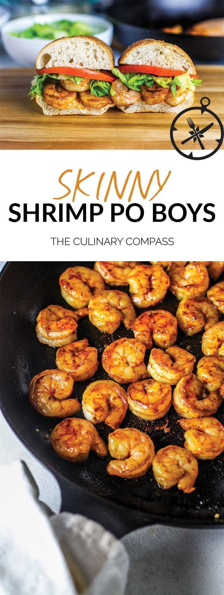 These Skinny Shrimp Po Boys are a lightened up and easy version of the classic! via @culinarycompass
