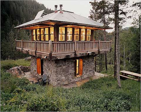 Modern Day Mountain Cabins This one will get you in the trees and above the snow level, maybe a barn under?