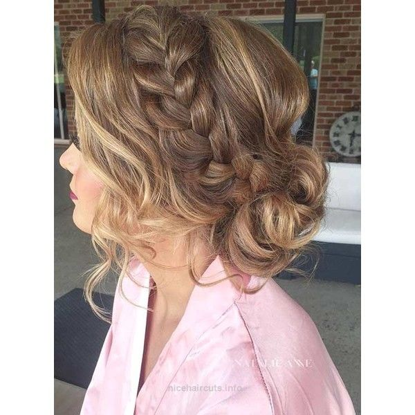 French Braid Into A Messy Low Bun Prom Hair Nice Haircuts Liked On Polyvore Featuring Hair Prom Hairstyles For Long Hair Hair Styles Long Hair Styles