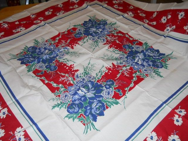 VINTAGE 1950s Cotton Tablecloth, Red, White U0026 Blue Vibrantly Colored,  Gorgeous Table Cloth