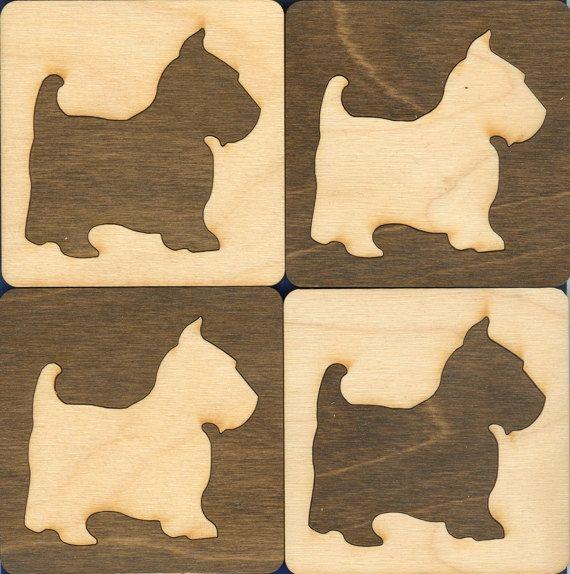 Scottie Dog Wood Coasters - Laser Cut and Inlaid. $14.95, via Etsy.