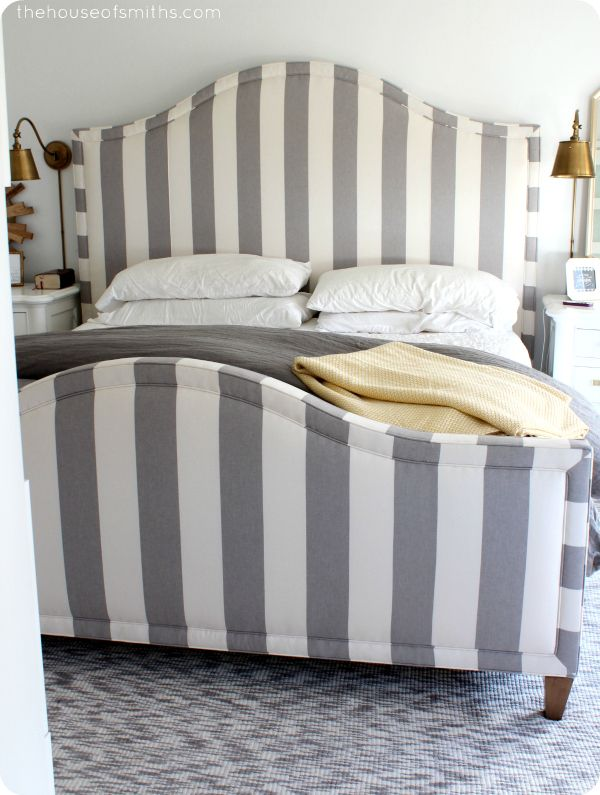 Delightful Striped Headboard And Footboard In Master Bedroom   Thehouseofsmiths.com  Love, Love, Love. Headboard And FootboardHeadboard IdeasDiy ... Design