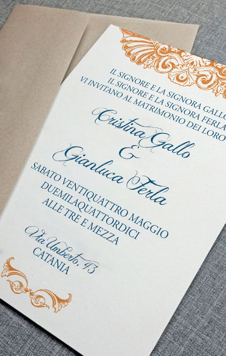 My last Wedding Invitation - Orange and Blue / Partecipazioni di Nozze / invitaciones de Boda / invitations de Mariage.