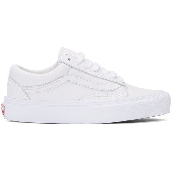 Vans White OG Old Skool LX Sneakers found on Polyvore featuring shoes, sneakers, white, white shoes, vans trainers, white lace up shoes, white leather shoes and white trainers