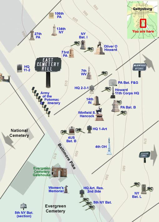 Best Gettysburg Map Ideas On Pinterest - Conservation cemetery map us