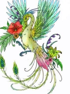 color Birds of Paradise tattoo idea