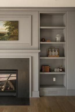 modern traditional fireplace | shelving | Fairfield Beach House | Thiel Architecture + Design