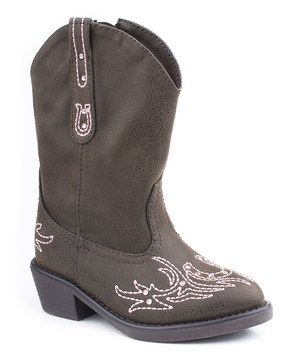 LOVE! LOVE! LOVE! LOVE! LOVE! LOVE! YOUR LITTLE SHOWSTOPPER WILL SHINE STRUTTING DOWN THE AISLE!  These special boots will have little ones giddy with excitement. Featuring soft faux leather and rhinestone accents, they're all that wee wearers need, from sunup to sundown.