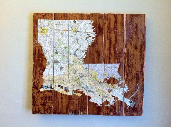 Louisiana Decoupaged Map, Pallet Art, Louisiana Map, Louisiana Art on Etsy, $180.00