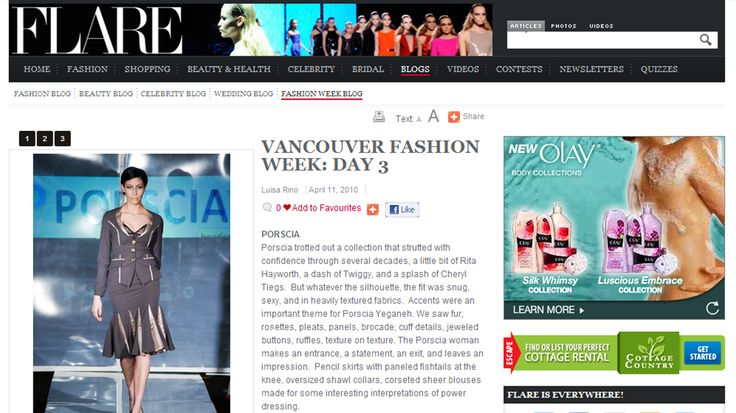 America-Flare magazine Canadas Next Top model, Linsay Willier, on the runway wearing  Porscia® Yeganeh® 2 piece collection