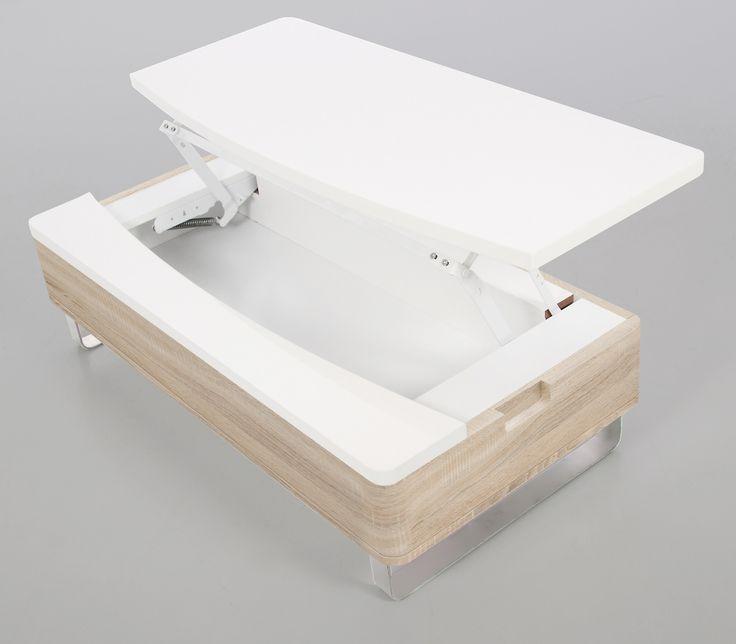 Originale et astucieuse, cette table basse blanc laque/bois avec rangement a tout pour plaire. Cette table basse design Lyate vous seduira par son plateau blanc laque dont la moitie est escamotable, ainsi vous disposerez d'un espace de rangements