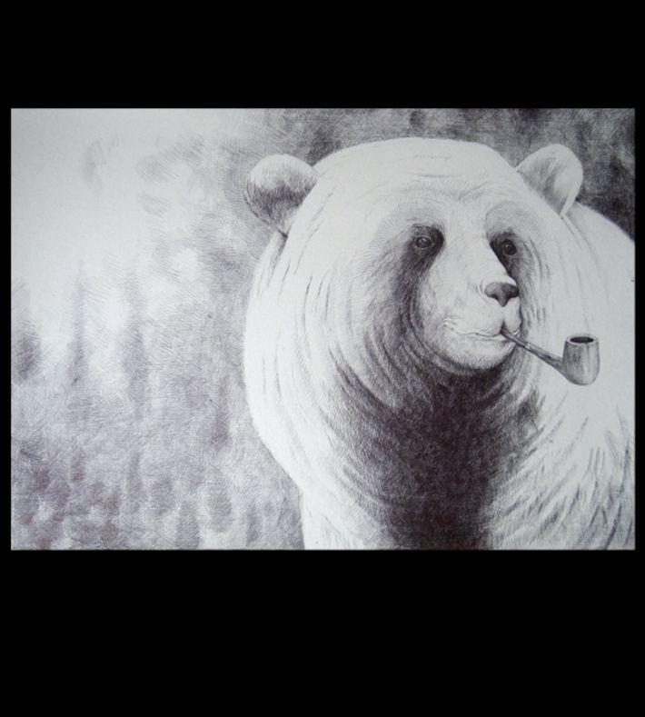 Bear smoking pipe (Bjørn med pibe) from Morten Løfberg. You can buy this piece at www.artrebels.com #artrebels #art #digitalprints