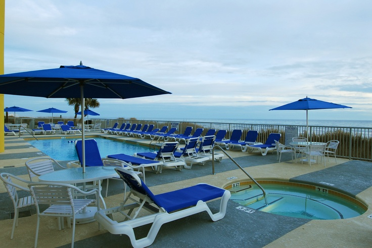 The outdoor pool and hot tub at SeaSide Resort in North Myrtle Beach are the perfect place to soak away the stress.