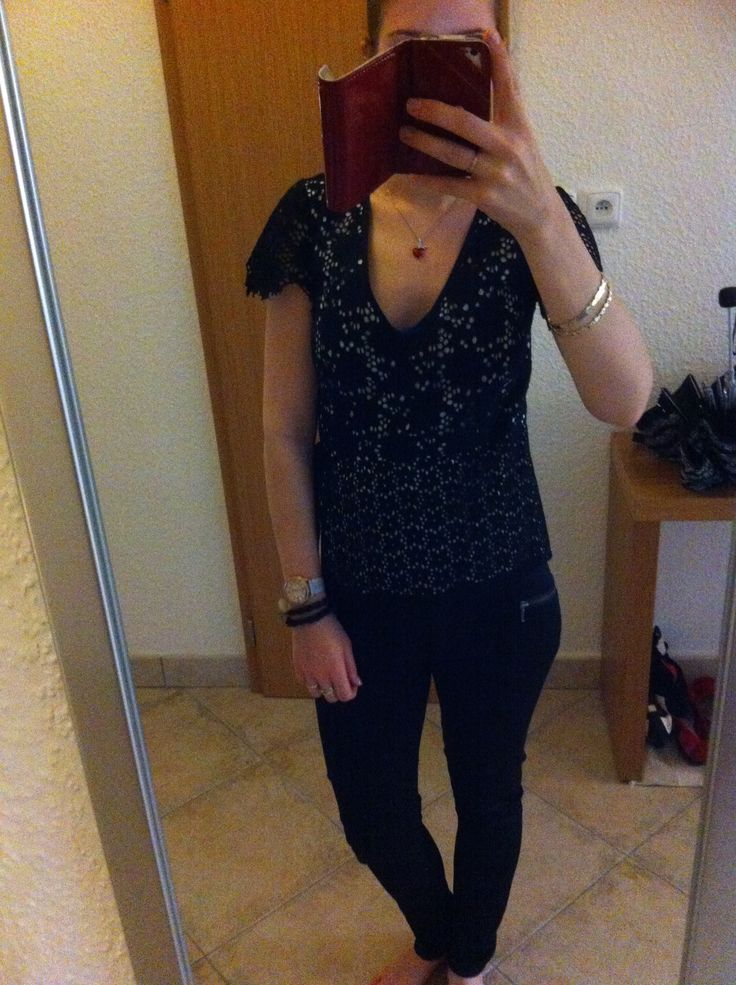 Lace blouse, black trousers. Enjoy Yourself