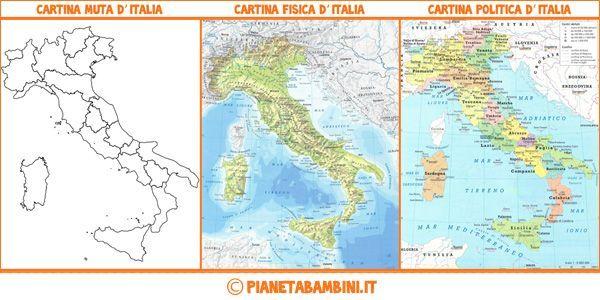 Cartina muta, fisica e politica dell'Italia pronta da stampare gratis