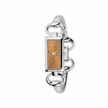 Γυναικείο quartz ρολόι GUCCI Tornabuoni με μπρασελέ χειροπέδα & μελί καντράν με 4 διαμάντια | Ρολόγια GUCCI στο e-shop & στο κατάστημά μας στο Χαλάνδρι #Gucci #tornabuoni #χειροπεδα #μπρασελε #ρολοι