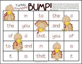 LA - Sight Words (Fry) - Turkey Bump Game FREEBIE via First Grade a la Carte