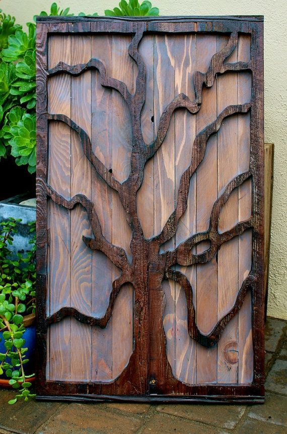 Rustic Reclaimed Wood Tree Art Wall Hanging