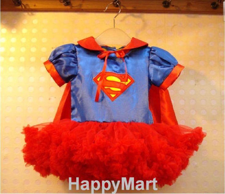 New Superman Supergirl Costume Girls Pettiskirt Petti Dresses + Cape Sz: 12M-5T