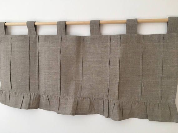 Natural grey linen pleated valance 16 length including 3 tab top  Choose the width from the drop-down box above.  If you need any custom size please contact me for a special order. Please double check measurements before place the order.  Same design valance,in white linen here: https://www.etsy.com/listing/512950829/white-linen-curtains-cottage-kitchen?ref=related-0  Your valance will be made to order.Usually it takes 2 - 4 days,but to be sure, please allow one ...