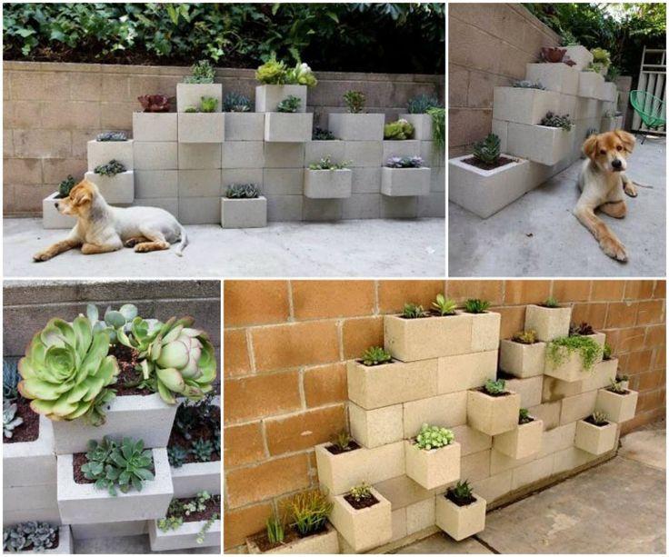 DIY Cinder block Planter #DIY #gardening
