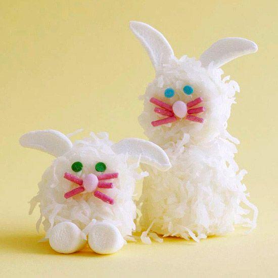 Marshmallow coconut bunnies: Desserts Ideas, Easter Spr, Easter Bunnies, Holidays Ideas, Marshmallows Bunnies, Easter Food, Easter Treats, Marshmallows Treats, Easter Ideas