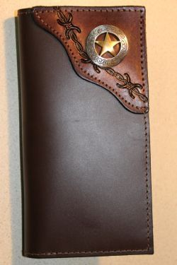 Roper Checkbook Wallet with Tooled Barbed by MillersLeatherShop