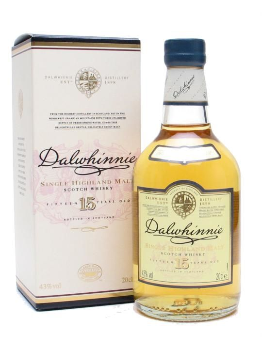 A quarter bottle of Dalwhinnie 15yo, the Highland representative in Diageo's Classic Malts series. Dalwhinnie 15yo is a good introduction to the delights of single malt whisky - elegant, smooth and...