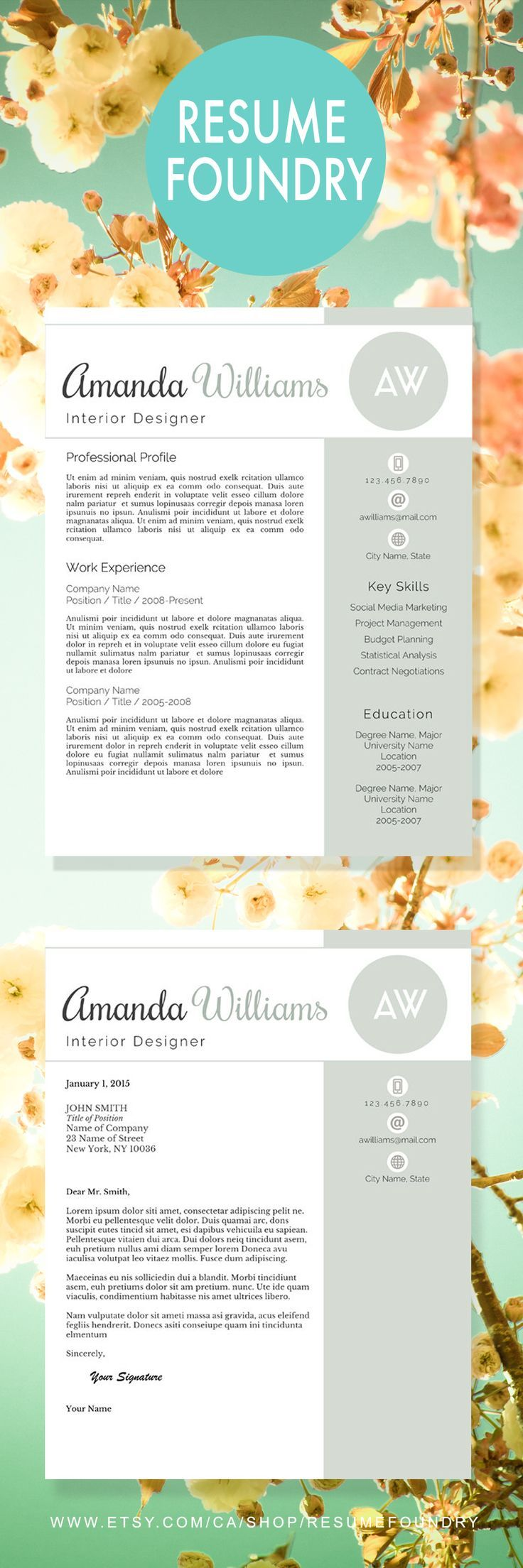 Modern Resume Template For Word, 1 3 Page Resume + Cover Letter + Reference  Page | US Letter | INSTANT DOWNLOAD | Amanda