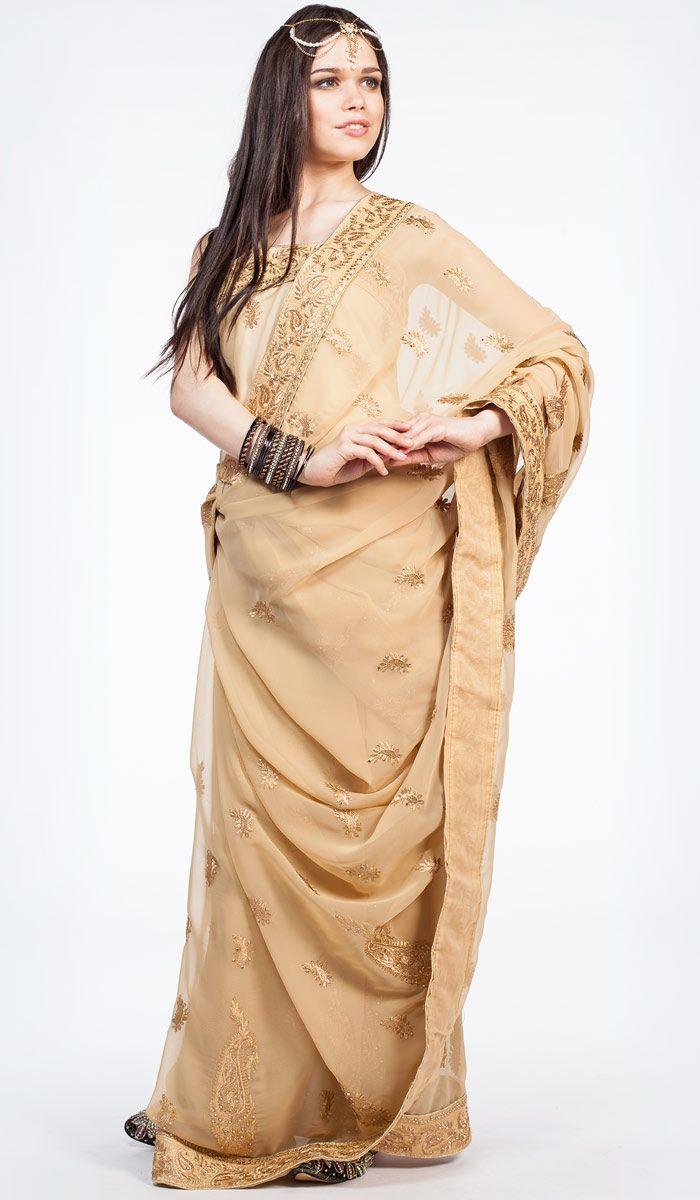 Индийское сари Принцесса Востока, бежевое сари из Индии, Indian sari, saree, nude sari from India. 21 200 рублей