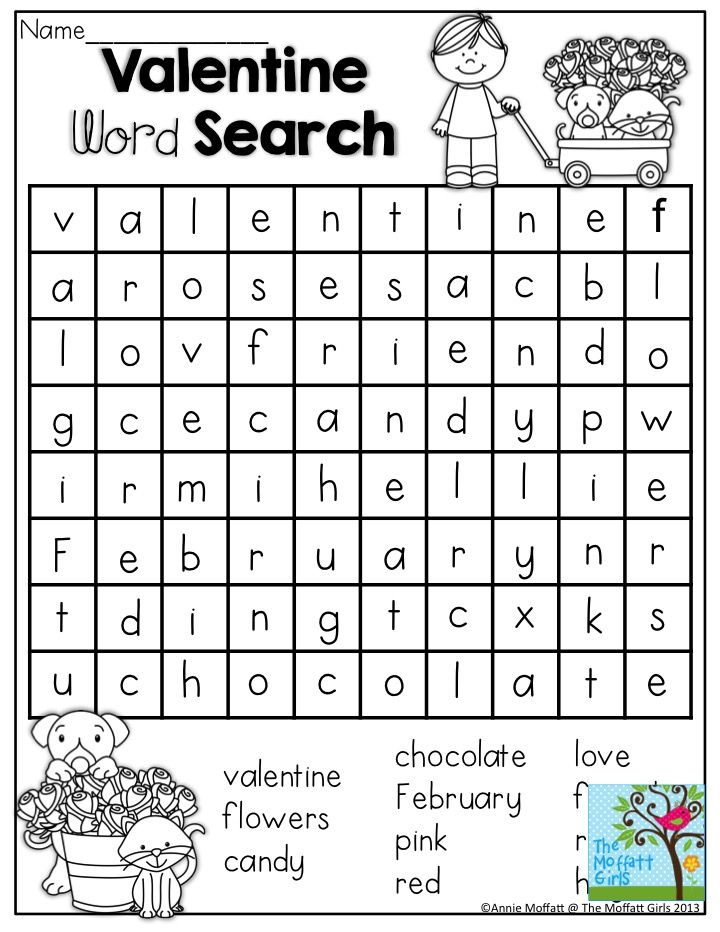 Valentine Word Search- NO PREP Packets for preschool, kindergarten, first, second and third grades make learning FUN!