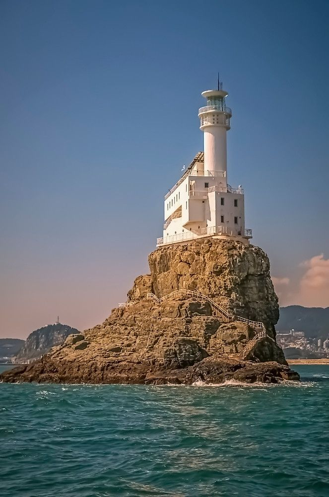 Busan, Korea | A mere 20 feet tall when erected in 1937, the Oryukdo Lighthouse now stands a whopping 90 feet after renovations and features an exhibition room with photos of prominent Korean lighthouses.