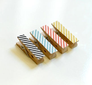 striped clips.Ideas, Accessories Stuff, Minis Clips, Accessories Travel, Painting Clothespins, Diy, Des Pince, Minis Clothespins, Crafts