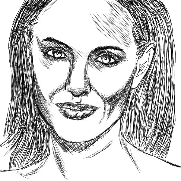 Tentativa de retratar a Angelina Jolie.