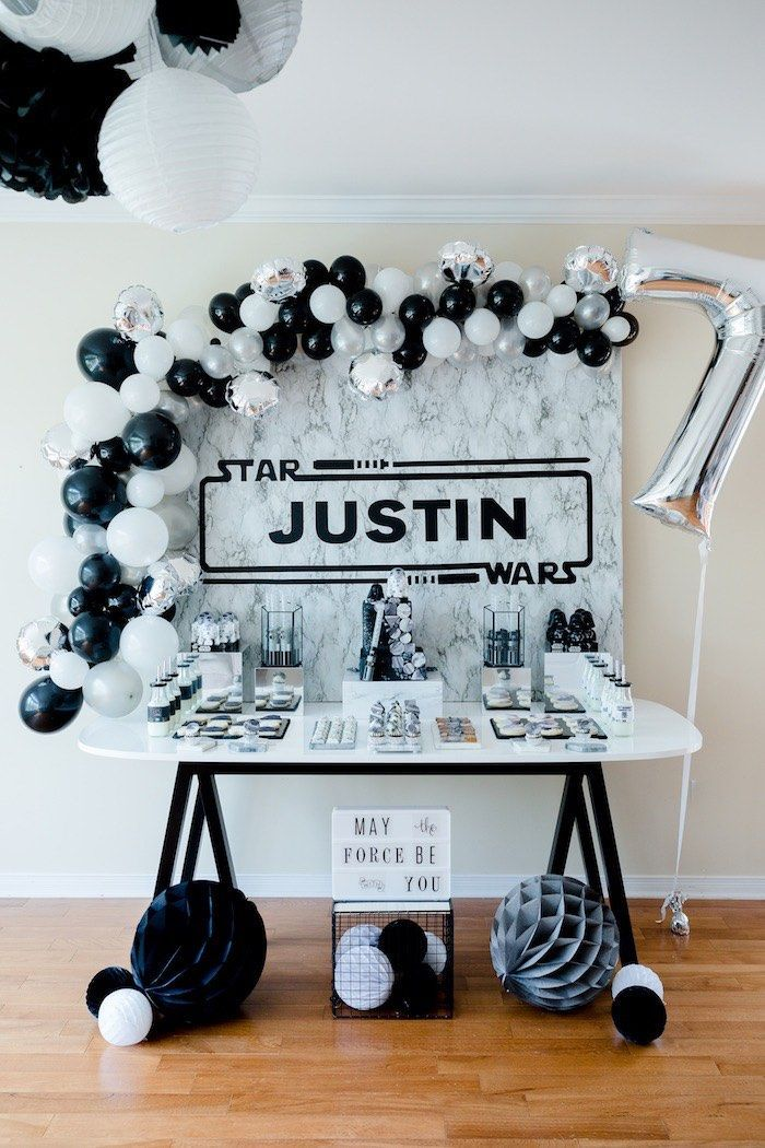 Monochromatic Star Wars Birthday Party On Kara S Party Ideas Karaspartyideas Com Star Wars Birthday Party Star Wars Party Decorations Star Wars Theme Party