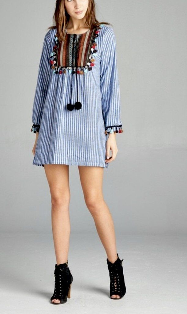 2ad55d78309 Blue White Stripe Embroidered Long Sleeve Tunic Dress with Pom Pom and  Tassels