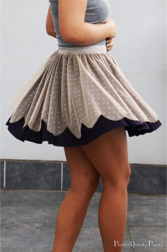 DIY Circle Lace Scallop Layer Skirt with FREE Sewing Pattern and Tutorial
