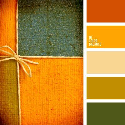 color anaranjado vivo, color verde abeto, color zanahoria, combinación contrastante de colores, combinación verde-anaranjado, marrón, rojizo, selección de colores para interiores, tonos anaranjados, verde y anaranjado.