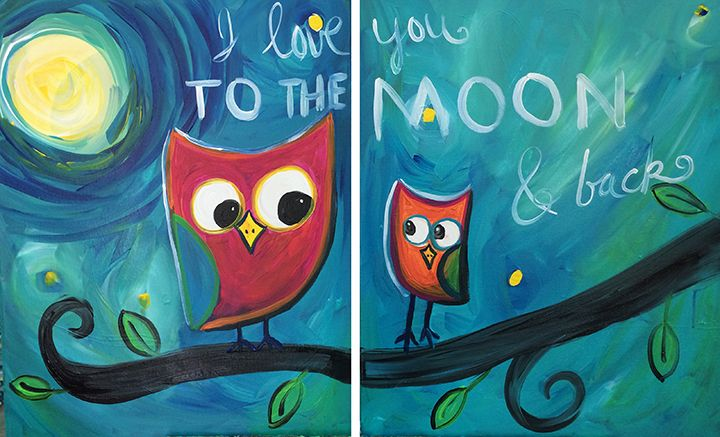 Owl Family - Collaborative 2-canvas project