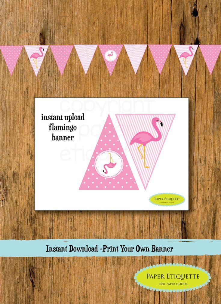 INSTANT Upload Banner Flamingo - Flamingo Baby Shower or Flamingo Birthday Pennants(Print Your Own) Flamingle Party Banner Flamingo Birthday by PaperEtiquette on Etsy