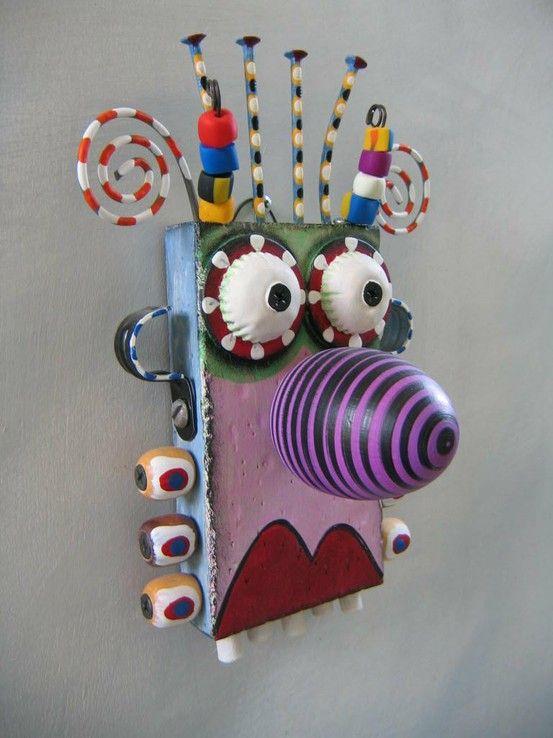 Monster Art, nagels, houtenkralen, ...afvalmateriaal