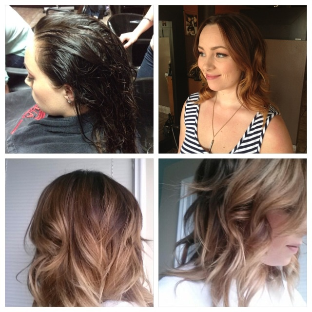 Corrective color. 1st visit and 2nd visit one week later. Even lighter balayage.
