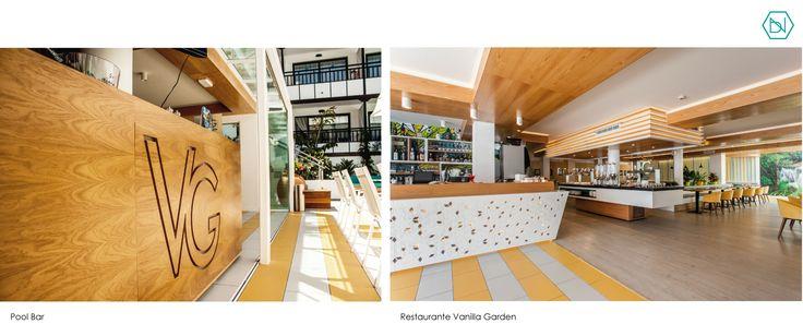 Restaurante Hotel Vanilla Garden. Tenerife. Restaurant Vanilla Garden Hotel. Tenerife. www.bn-arquitectos.com  #restaurant #poolbar #floor #osbwall #interiordesign #midcentury #hotel #refurbishment #furniture