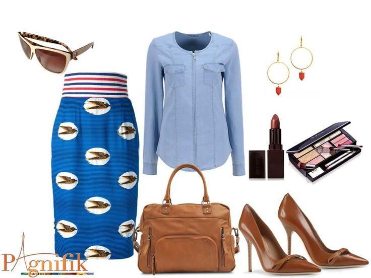 Idée de look – Jupe crayon bleu Stella Jean | Pagnifik