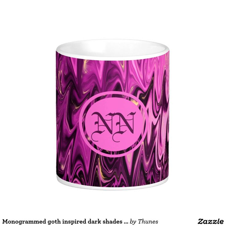 Monogrammed goth inspired dark shades of purple classic white coffee mug