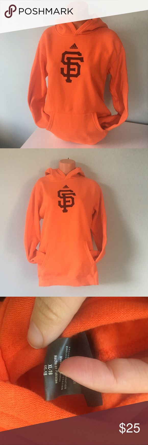 Adidas San Francisco Giants Hoodie Kids XL/Adult S Orange SF Giants Long Sleeve Sweatshirt. I am typically a Small and it fits me. Size on tag is kids XL. Only worn a couple times. adidas Shirts & Tops Sweatshirts & Hoodies