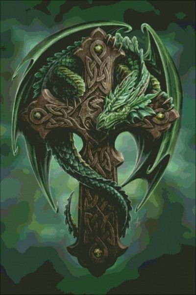 Цветной эскиз тату дракона и креста